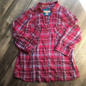 Arizona pink and blue plaid snap up shirt